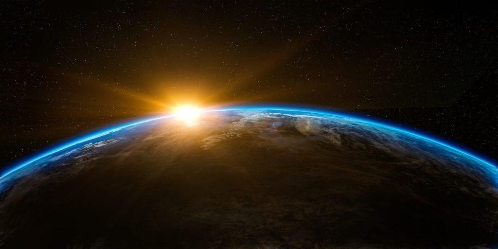 Soloppgang over jordkloden
