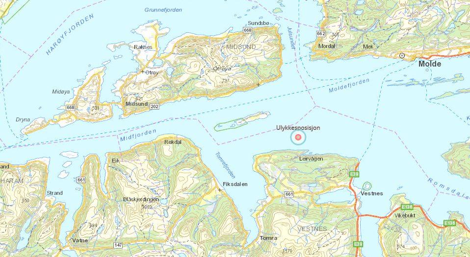 Estimert ulukkesposisjon. (Foto/Illustrasjon: Statens Havarikommisjon for Transport/Kartverket)