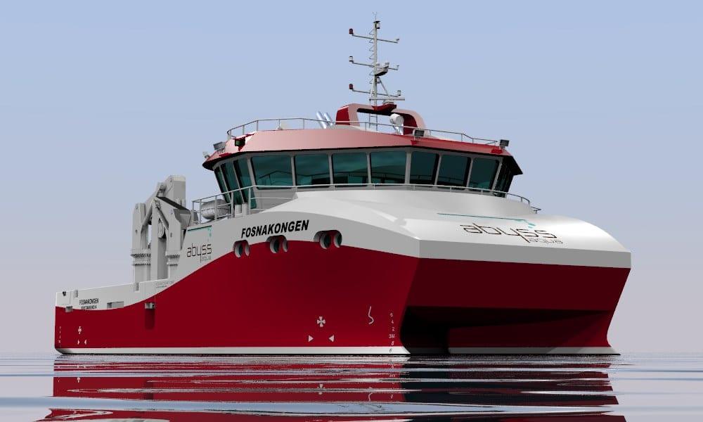 Fosnakongen var den først båten der Tomra Engineering stod for heile designet. Den vart levert frå Salthammer Båtbyggeri i mars 2015. (Illustrasjon: Tomra Engineering)
